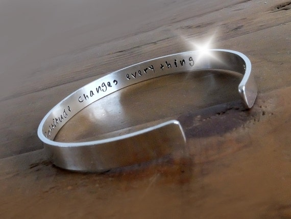 Gratitude Bangle, Personalised Bangle, Law of Attraction Bangle, The Secret Message Bangle, Silver Cuff, Motivational Quote Bangle