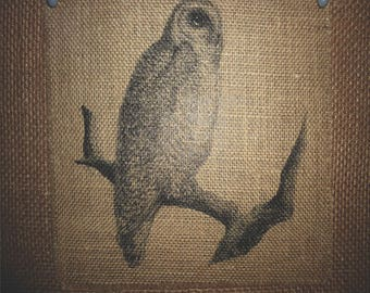 Owl Sitting on a Branch Burlap Picture