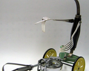 """Recycling RUSTY  ROBOT SCULPTURE-""""Mad Max Beater Tricycle""""- assemblage art,metal sculpture,comiccon,art sculpture,green art,reused sculpture"""
