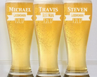 9 Groomsmen Pilsner Glasses, Groomsman Gift, Personalized Beer Glass, Wedding Party Gifts, Father of the Bride, Beer Mug Gifts for Groomsmen