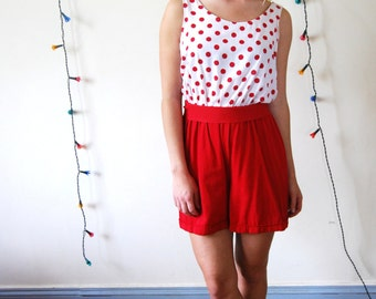 Vintage 80s 90s polka dot romper - polka dot playsuit - polka dot jumpsuit - vintage romper - 80s romper - 90s romper - rayon playsuit
