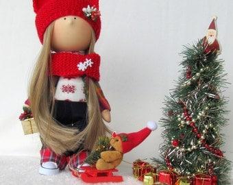 Alice Christmas Cloth Doll Handmade Christmas Doll Christmas Gift Doll Christmas Interior Doll Christmas Collection Doll Christmas Girl Doll