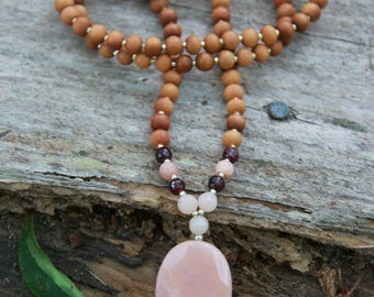 Peach Aventurine Sandalwood Mala - Mediation Inspired Yoga Beads BOHO chic / mala beads