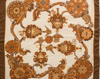 Vintage HERMES silk scarf - Cendrillon  - White Brown Cream - Luxury scarf - Vintage designer - gift for her
