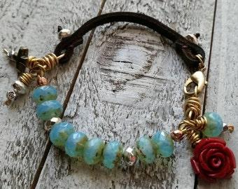Bohemian Rose Cross Leather Stacker Bracelet