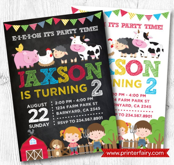 Farm Invitation Barnyard Birthday Invitation Farm First Birthday