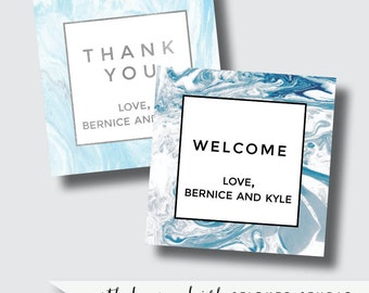 Blue marble stickers, marble wedding favors, marble labels