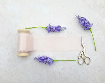 "Dusty pink silk ribbon - hand dyed silk ribbon - 2"" wedding silk ribbon - 3 meters -"
