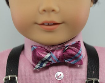 "Raspberry Plaid Bow Tie for 18"" dolls - pre-tied with a snap closure, Boy doll dress accessories, girl doll clothes, American Made,"