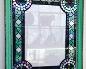 Purple and Green Mosaic Glass Frame With Violets / Flower Frame /  Plum, Mint Green, Iridescent White Glass / Picture Frame / Art Frame