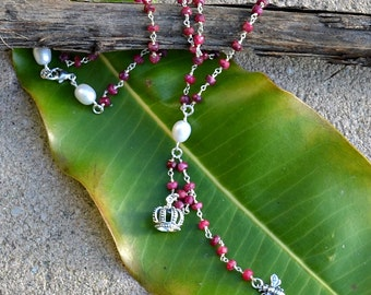 "Queen Bee- Genuine Ruby, Freshwater Pearl, Crown Charm, Queen Bee Charm, Wire Wrap Y Necklace. Valentine's Day. 20"" with a  3 inch drop. SS"