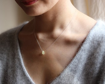Raw Yellow Apatite Necklace, Rough Semi Precious Gemstone, Dainty Sterling Silver Jewelry,