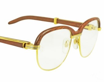 Cartier Malmaison Bubinga NOS Palisander Rosewood vintage 1990 sunglasses / eyeglasses frames, in mint condition.