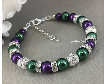 Dark Purple and Green Bracelet Pearl Jewelry Bridesmaid Bracelet Bridesmaids Gift Jewelry Sets Purple Bracelet Hunter Green Gift for Her