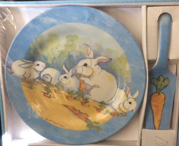 Easter Bunny Cake Plate and Cake Server by the Stone Bunny, Gift, Gift For Her