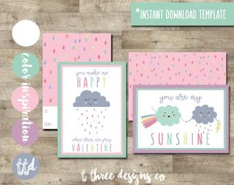 Cute Kids Valentine Cards, Printable Valentines Cards, kids valentines, child valentines cards, you are my sunshine valentine, girl