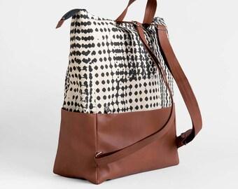 Raw Cotton and Vegan Leather Backpack - Printed Canvas vegan bag - Brown travel rucksack - School bag - Laptop backpack - Sac vegan rucksack