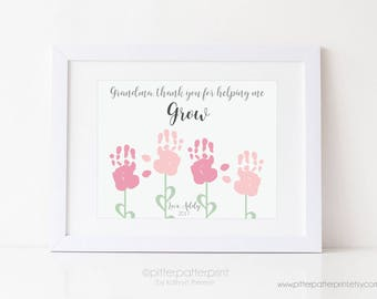 Grandma Gift Mother's Day Handprint Flower Personalized Art Print, Thank You For Helping me Grow, Your Child's Hands, 8x10 or 11x14 UNFRAMED