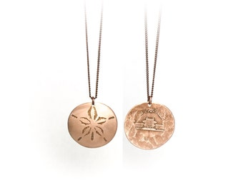 Sand Dollar Necklace. Etched Coin. Sand dollar charm. Yen necklace. Yen charm Japan charm. Japan necklace. Japanese charm. Japanese necklace