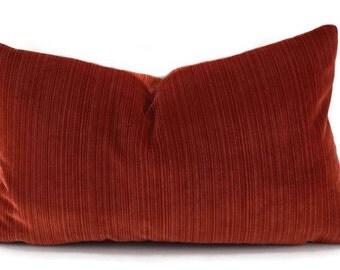 Striped Burnt Orange Velvet Lumbar Throw Pillow Cover, Tone on Tone Orange Stripe, 12x20