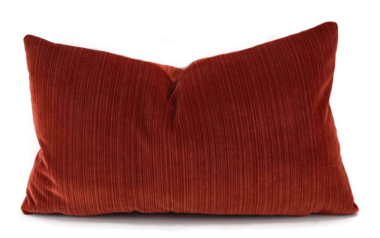 Striped Burnt Orange Velvet Lumbar Throw Pillow Cover Tone on