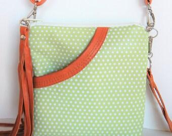 Spring green, polka dot, leather crossbody  or shoulder bag. Small crossbody, mint green,  spring handbag.