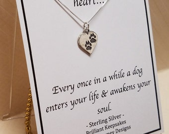 Paw Prints On Your Heart Loss of a Dog Sympathy Gift Necklace Sterling Silver