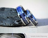 Summer Sale! 6MM -OR- 8MM Doctor Who Inspired Tungsten Wedding Ring, Free Inside Engraving