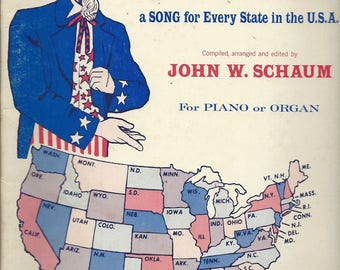Vintage Songbook - Sheet Music - FIFTY songs, FIFTY States - a Song for Every State in the USA - c. 1971 by Schaum for Piano or Organ - Nice