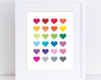 Rainbow Hearts Printable Nursery Art, Heart Kids Room Art, Heart Printable, Heart DIY Art, Heart Wall Decor, Heart Nursery, Colourful Hearts