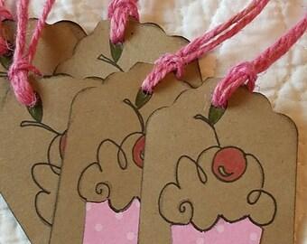 cupcake gift tags, set of 6 - birthday gift tags - gift tags - tag embellishments