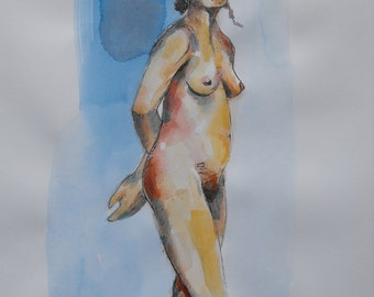 Original figure study, pen and ink, watercolour washes, from life, female model, standing, side view, gesture, 11 X 14, Figure 96