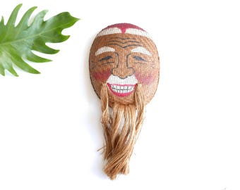 Vintage asian woven wicker mask, 1970s / boho chic bohemian folk hippie china asia japan Chinese Japanese Oriental Wall Hanging
