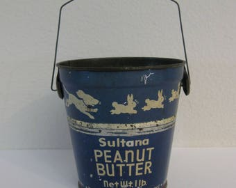 Antique Advertising Sultana Peanut Butter Pail - Quaker Maid Co - Terre Haute, Indiana - Puppy Chasing Rabbits