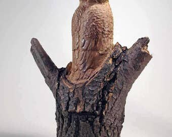 Hand Carved Wood Sculpture of Owl in a Stump (Stumpy23)
