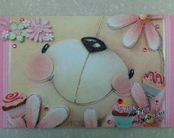 Super Cute Large 3D Forever Friends *Bear Smiles* Handmade Birthday Card by Christine with matching envelope and gift tag