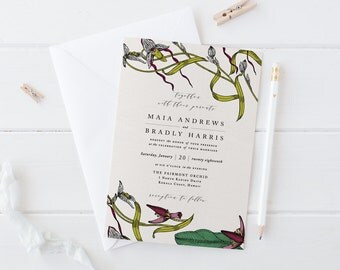 Tropical Wedding Invitation Set,Printable Destination Wedding Suite,Exotic Orchid Wedding Invite,Tropical Theme,Banana leaf,Botanical Leaves