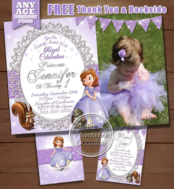 Sofia the first birthday invitation princess sofia birthday il570xn stopboris Image collections