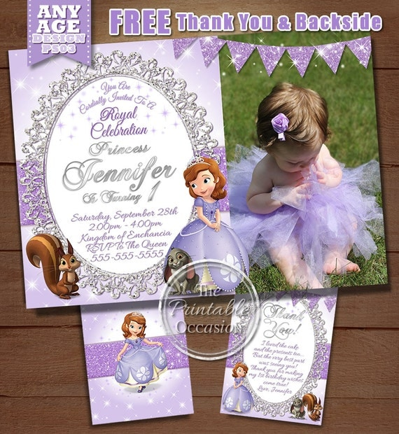 Sofia the first birthday invitation Princess Sofia birthday