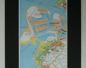 Map of Europoort, Rotterdam Decor, Available Framed, Dutch Art, Docks Picture, Netherlands Print, Oostvoorne Gift, Maasvlakte Wall Art