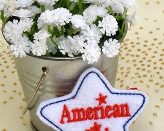 American Gal Pinwheel Bow - American Gal 4 Inch Hairbow - American Gal Party/American Gal Party Favor Bow - American Gal Hair -BowBravo