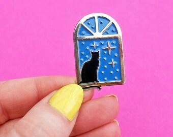 Stargazer Cat, enamel pin - astrology - lapel pin