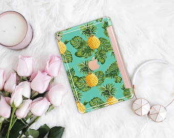 Platinum Edition Tropical Pineapple with Rose Gold Hybrid Smart Hard Case for the iPad Air 2, iPad mini 4 , iPad Pro , New iPad 9.7 2017