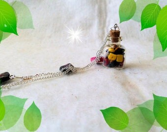 Necklace with pendant, polymer clay, glass bottle, find,
