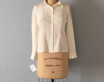 cream white silk blouse | 1940s inspired pin tucked silk blouse