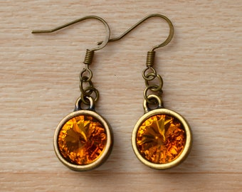 Bronze Rivoli Earrings - Crystal Jewelry - Dangle Swarovski Crystal Earrings - Wedding Jewellery - Bridesmaid Earrings - Bride Earrings