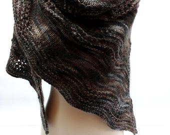 Scalloped Lace Shawl: Romantic Hand Knit Feather and Fan Evening Knit Wrap, Brown and Gray Elegant Lace Rustic Shawl, Ready to Ship