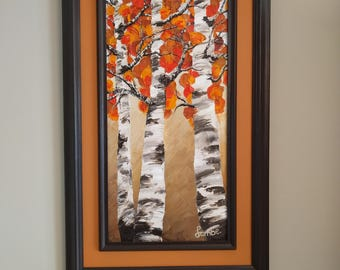 Beautiful Fall Birch Trees Abstract Oil Painting