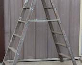 Vintage Wood Double Sided Step Ladder - 7 Step Ladder with Identical Steps on both sides (#1)