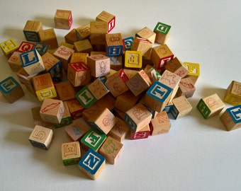 Vintage Wooden Children's Blocks --- Retro Baby Toddler Nursery Toys --- Animals Letters Numbers Colorful Home Decor --- Rustic Cute Curios